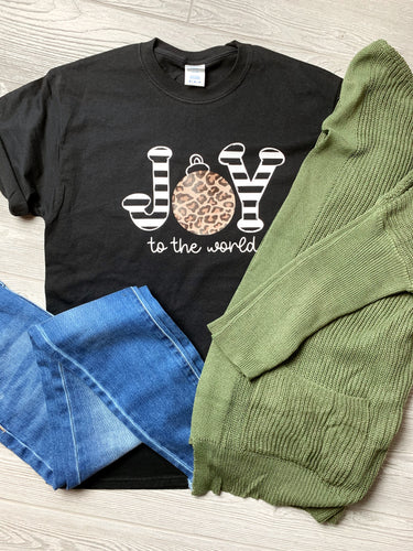 Joy to the World Leopard Tee