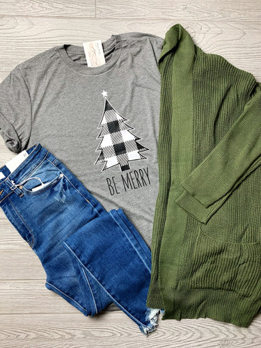 Be Merry Buffalo Plaid Tree Tee
