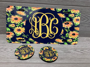 Monogram License Plate and Car Coaster Combo