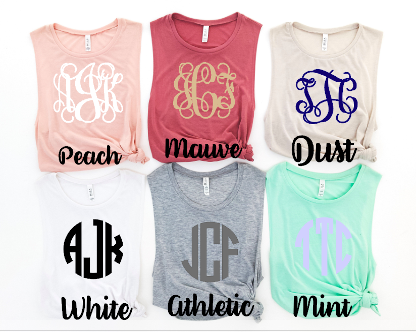 Bella Canvas Muscle Tanks in the summer collection colors. Available in peach, mauve, dust, white, athletic, and mint.