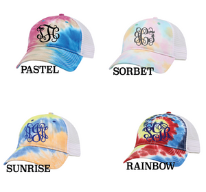 Tie Dye Hat With Monogram
