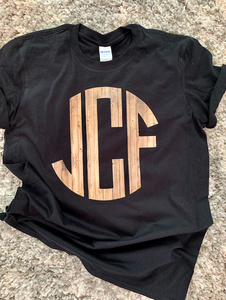 Wood Grain Monogram Tee