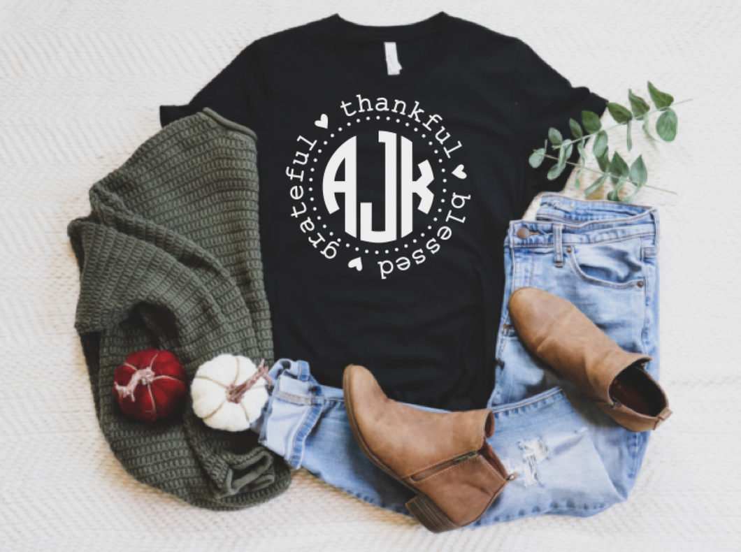 Thankful, Grateful, Blessed Monogram Tee