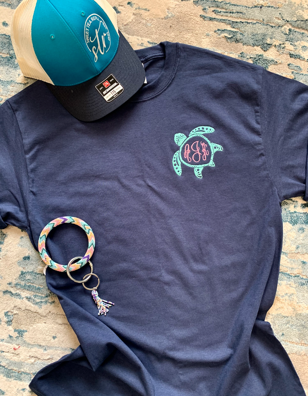 Embroidered Sea Turtle Monogram Tee