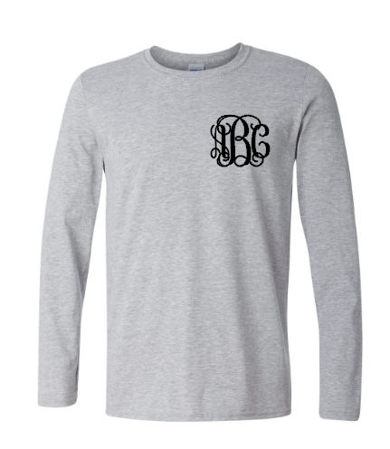 Long Sleeve Grey Monogram Tee CLOSEOUT