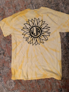 Tie Dye Sunflower Monogram Tee