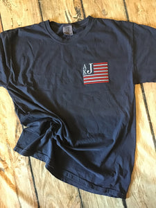 Navy comfort colors t-shirt with American Flag monogram embroidered on left chest