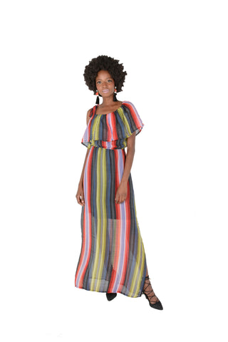 Asymmetrical Rainbow Stripe Maxi