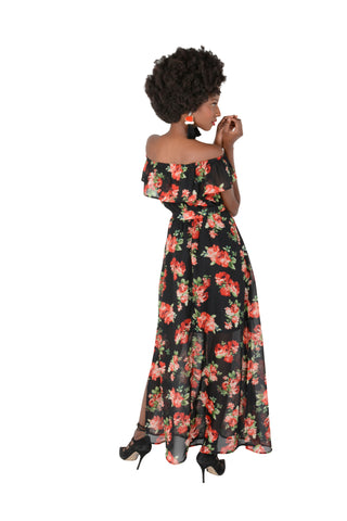 Floaty Off The Shoulder Georgette Dress in Floral Back