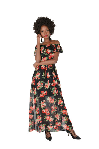 Floaty Off The Shoulder Georgette Dress in Floral Front