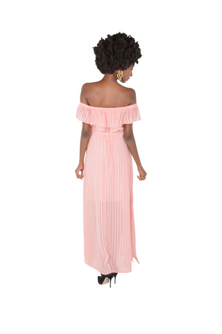 Floaty Off The Shoulder Georgette Dress in Pink Back