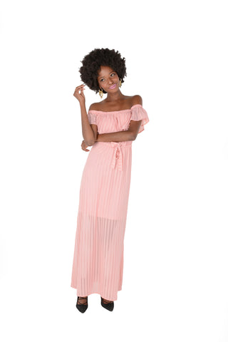 Floaty Off The Shoulder Georgette Dress in Pink Front