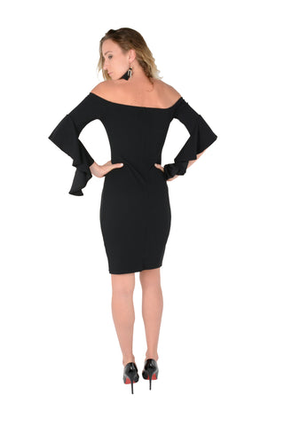 Off-The Shoulder Bodycon With Flare Sleeve in Black