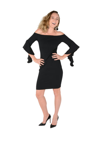 Off-The Shoulder Bodycon With Flare Sleeve - Black Font