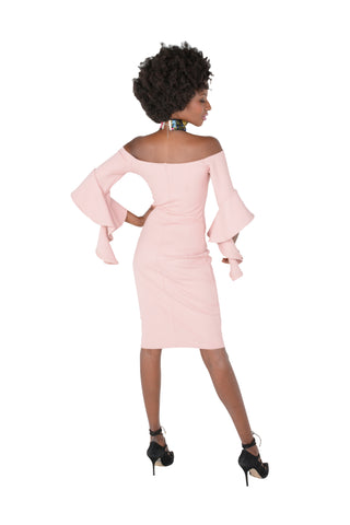 Off-The Shoulder Bodycon With Flare Sleeve in Pink