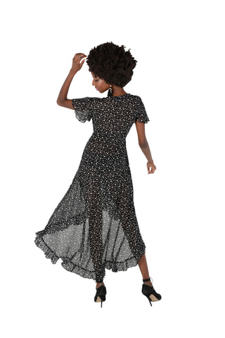 Spot Georgette Wrap Dress Back