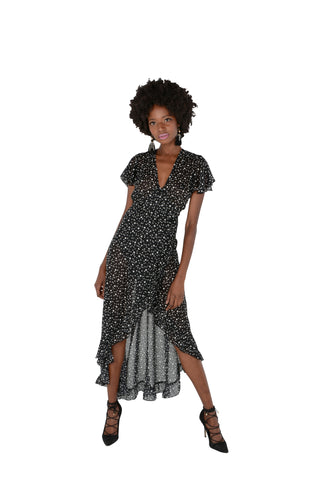 Spot Georgette Wrap Dress Front