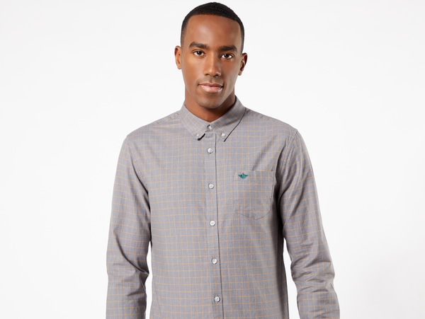STRETCH OXFORD SHIRT - NEWBY MEDIUM GREY HEATHER