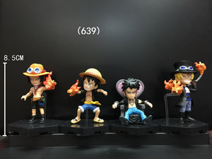 One Piece Luffy Ace Sabo Law 4pcs/set 8 cm - AnimeIkuNow