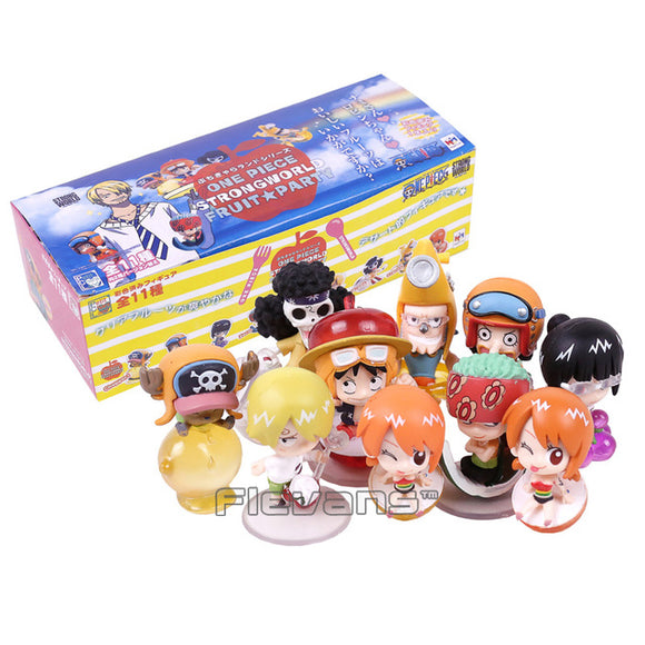 One Piece Strong World Fruit Party 10-pack Luffy, Nami, Zoro, Chopper, Robin, Sanji, Usopp, Franky, and Brook Mini Figures 5cm - AnimeIkuNow