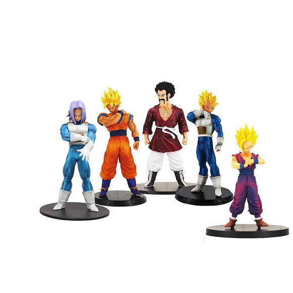 Dragon Ball Z Super Saiyan Goku, Super Saiyan Gohan, Super Saiyan Vegeta, Future Trunks, and Hercule - AnimeIkuNow