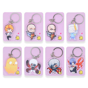 8 styles Tokyo Ghoul  Keychain Cute One Punch Man  Double Sided Key Chain Adventure Time Custom made Anime Key Ring PCB70-93 - AnimeIkuNow