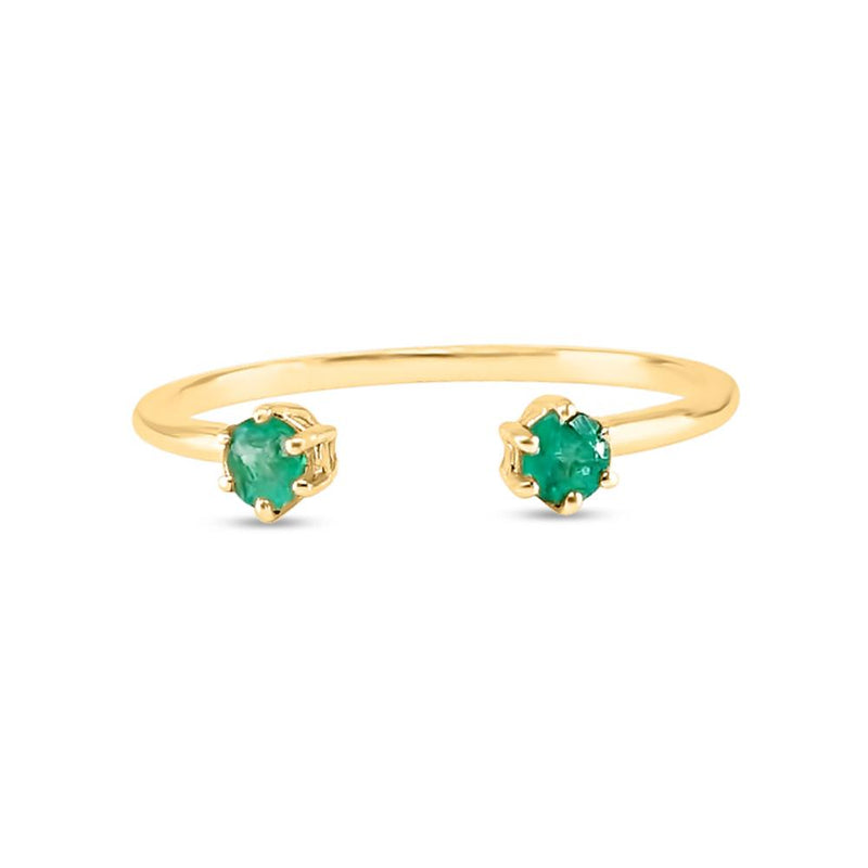 Double emerald ring yellow gold green emeralds