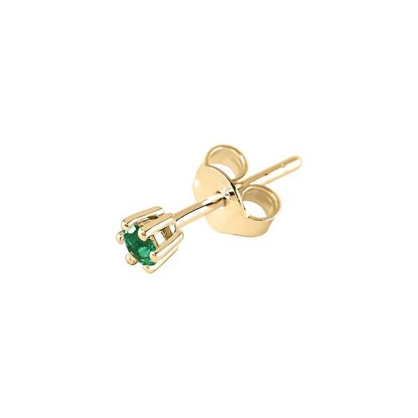 Solitaire Earrings - Green Emerald