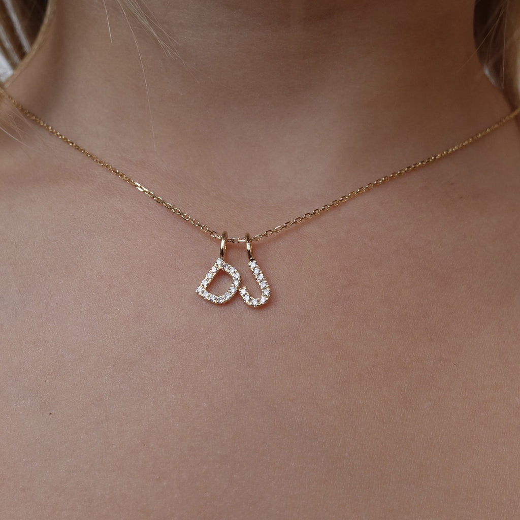 2 Letter Name Necklace - White Diamond