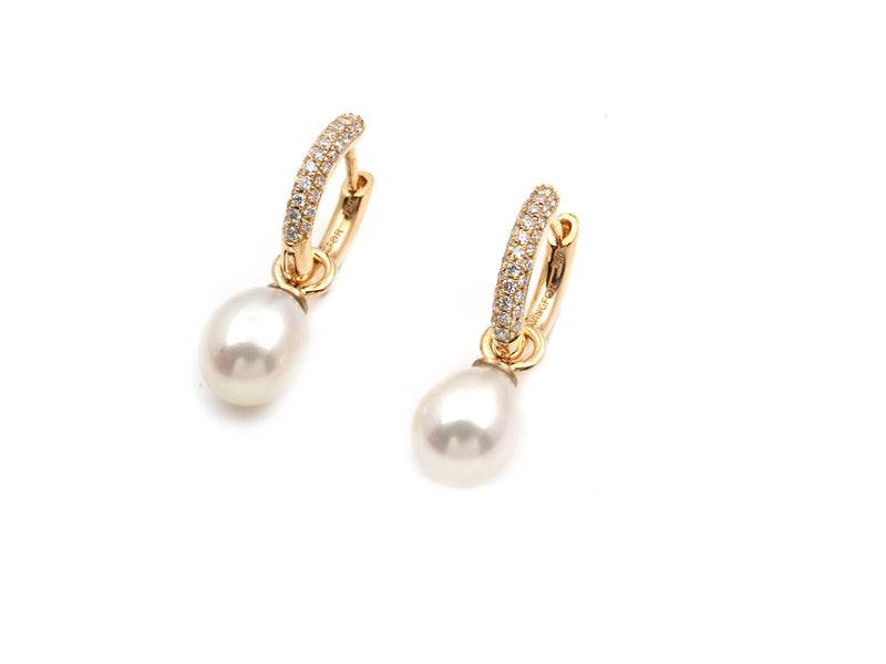 Pave Diamond Earrings With Pearls