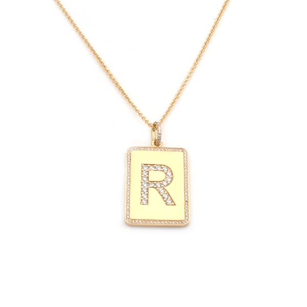 Mens Gold Tag Diamond Letter Necklace