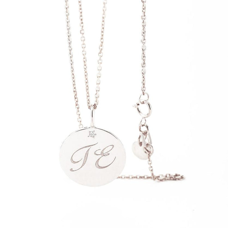 Charm Letter Necklace - White Diamond