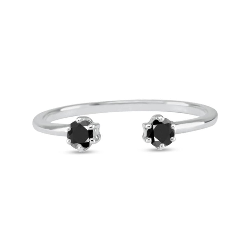 Double diamond ring white gold black diamonds