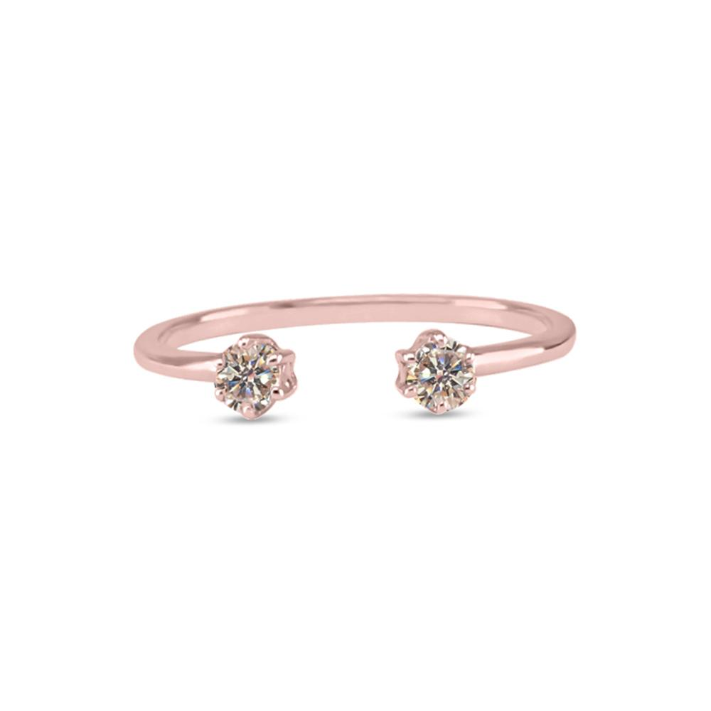 Double Diamond Ring -  Champagne Diamond