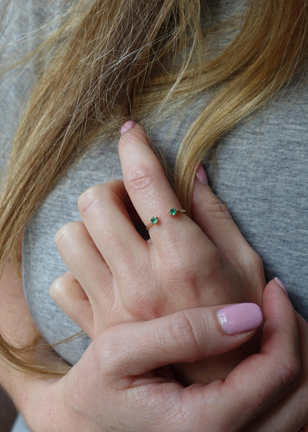 Double Emerald Ring - Green Emerald