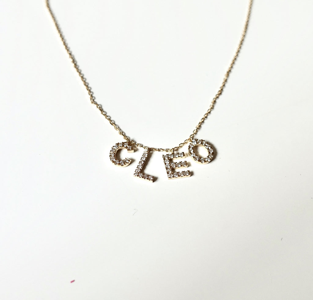 4 Letter Name Necklace - White Diamond