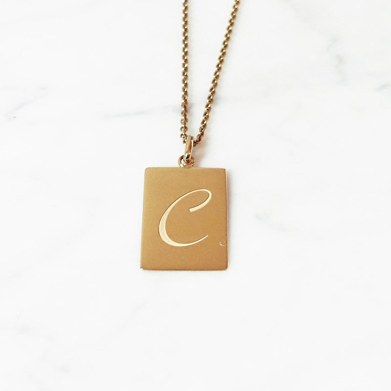 Mens Gold Plate Letter Necklace