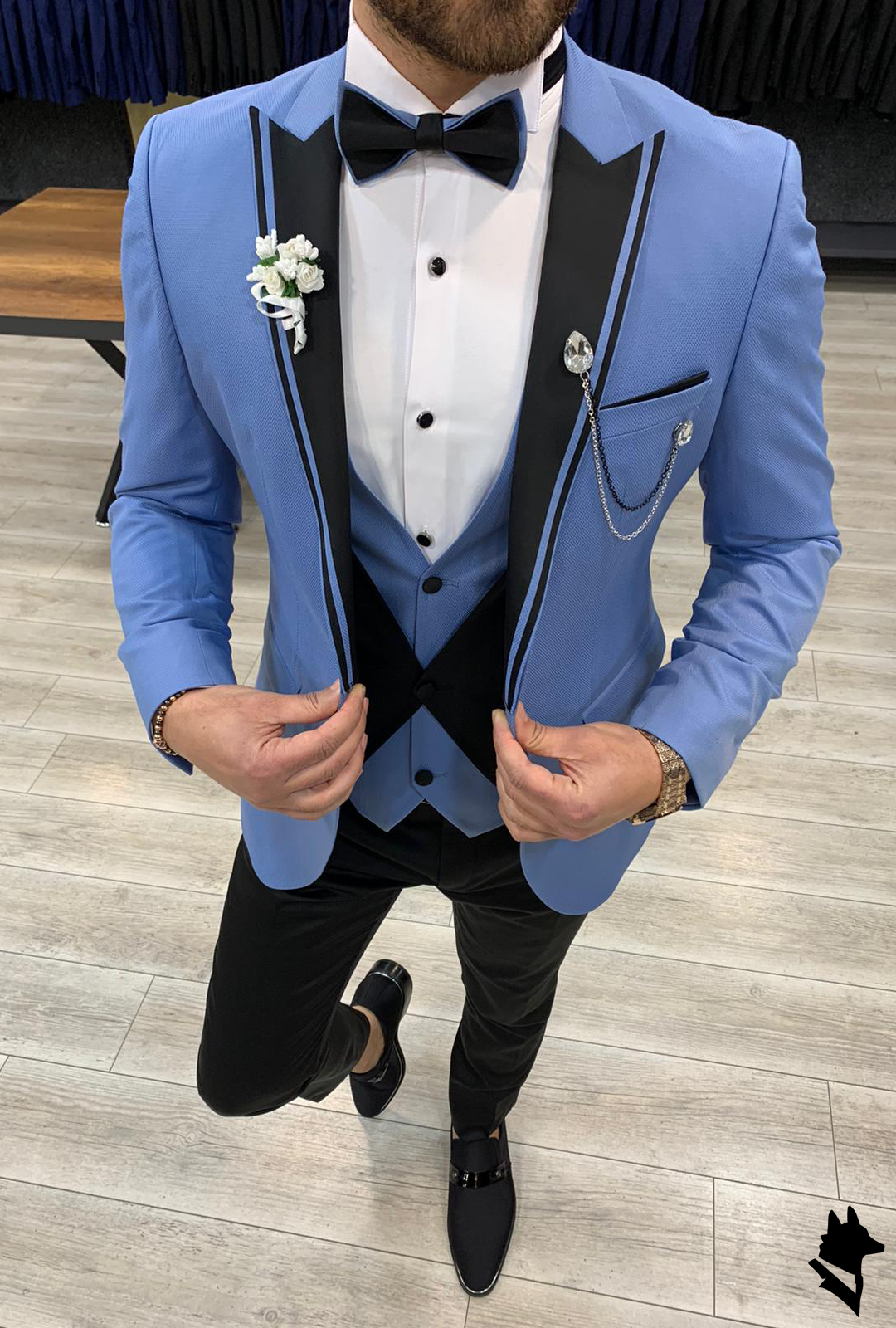 Eros Sky Blue Slim Fit Suit