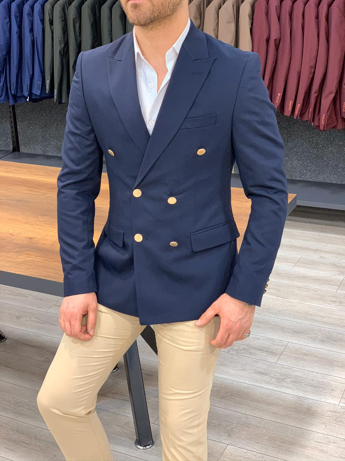 Navy Blue Double Breasted Blazer