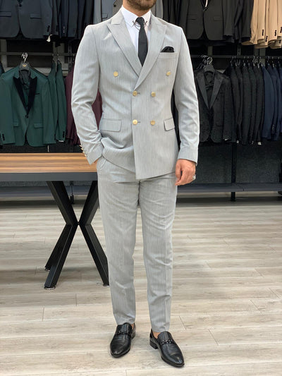 Vins Grey Double Breasted Suit