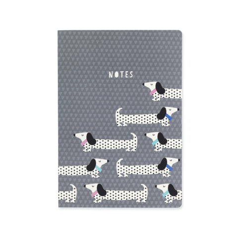 Sausage Dog Notebook - Grey