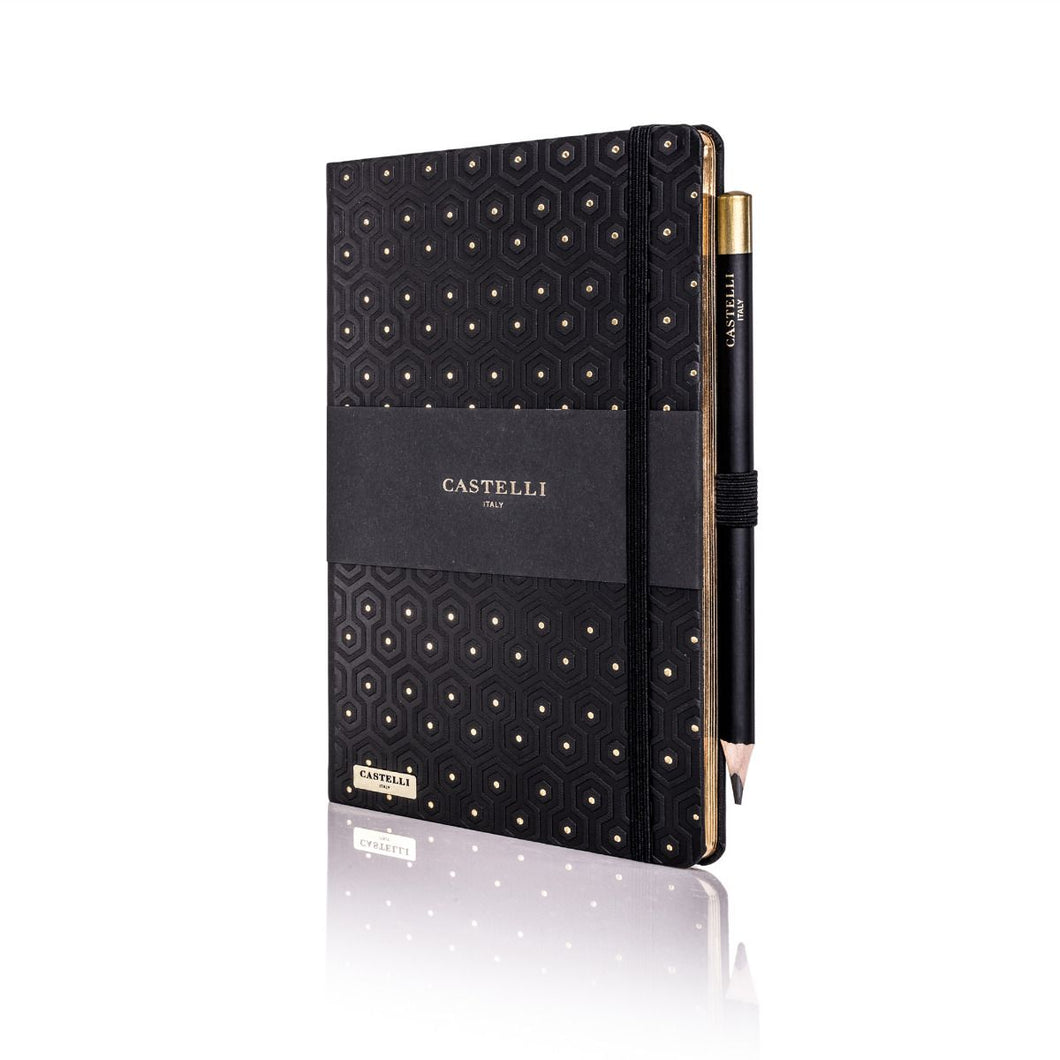 Castelli Honeycomb Notebook Black & Gold With Gold Page Edges