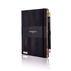 Castelli Stripe Black Notebook With Gold Page Edges