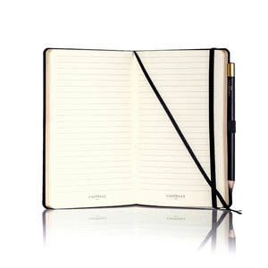 Inside of Castelli Stripe Black Notebook With Gold Page Edges