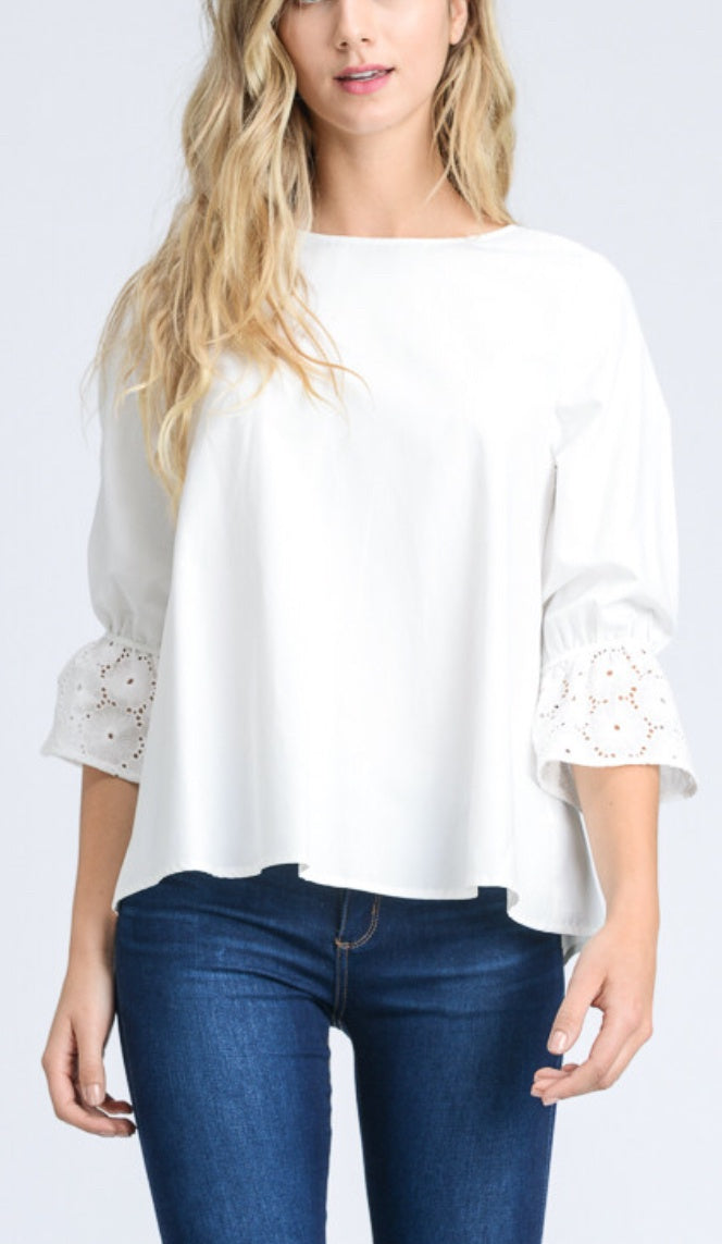 Eyelet Sleeve Top - Refinery