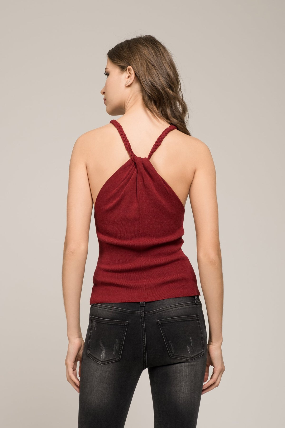 Knit Top with Braided Straps - Refinery