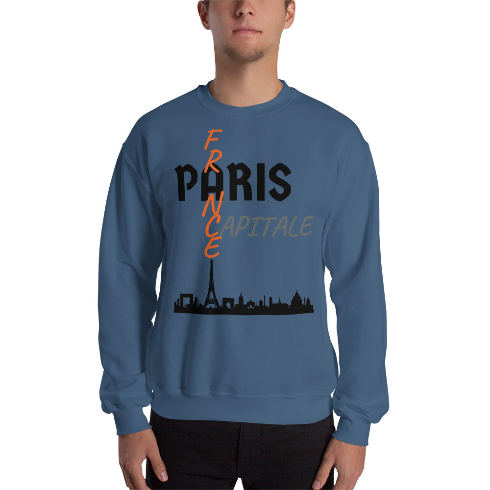 Sweat Homme personnalisé-Paris-capital-France-bleu-indigo-Vetements-funriesone