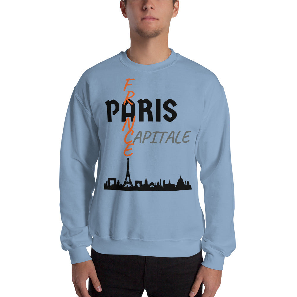 Sweat Homme personnalisé-Paris-capital-France-bleu-ciel-Vetements-funriesone