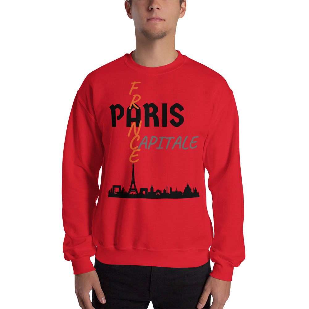 Sweat Homme personnalisé-Paris-capital-France-rouge-Vetements-funriesone