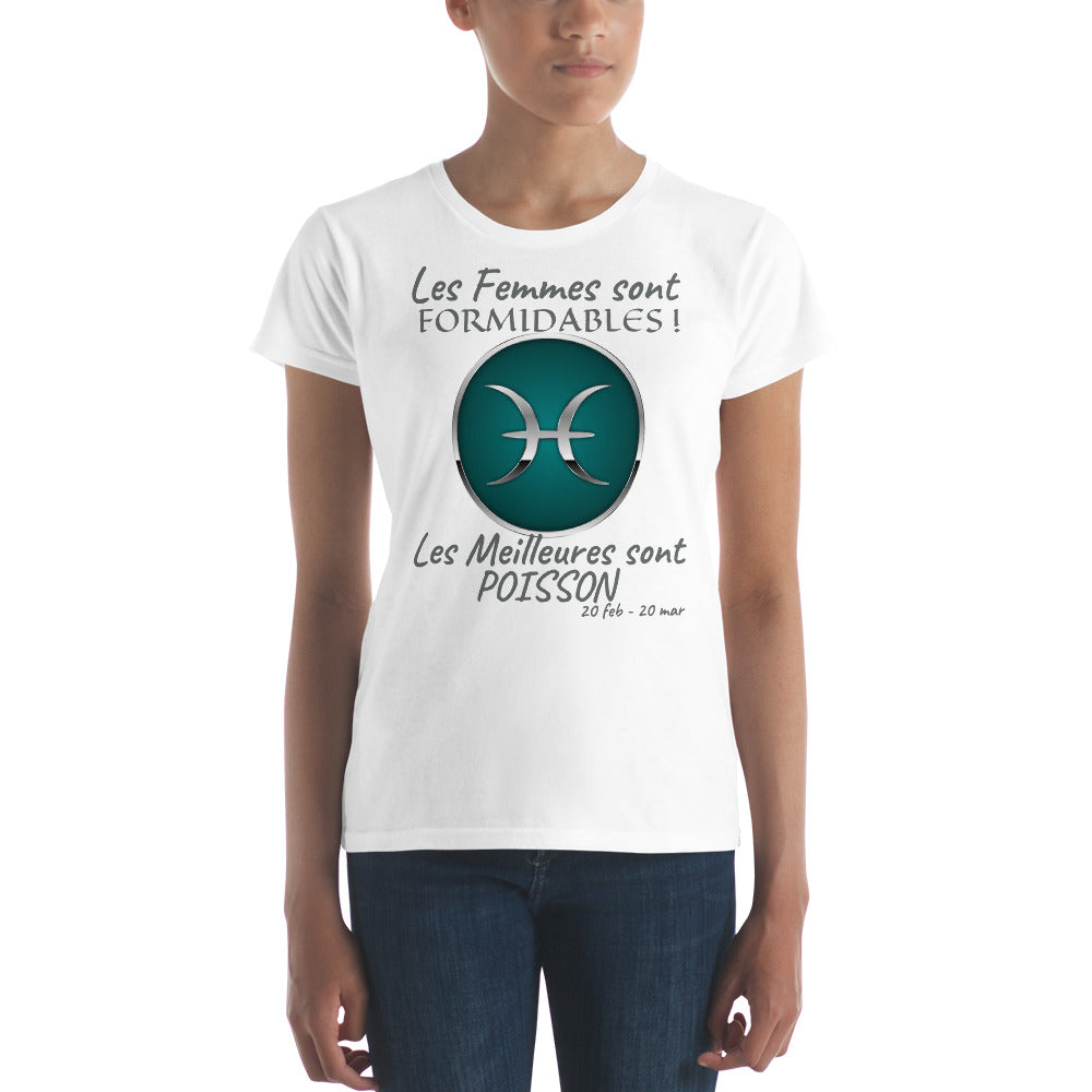 T-Shirt Femme Zodiaque-t shirt femme astrologique-signe astral-horoscope-POISSON-blanc-FunriesOne
